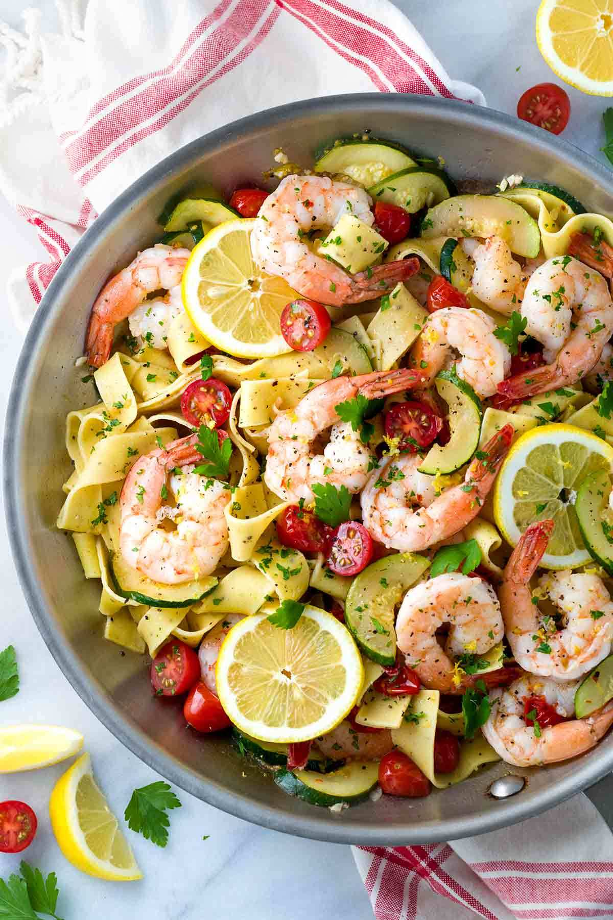 Lemon-Garlic Pasta with Vegetables and Shrimp