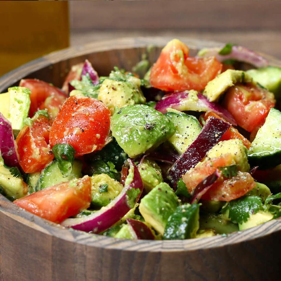 Avocado Tomato Cucumber Salad in 5 minutes