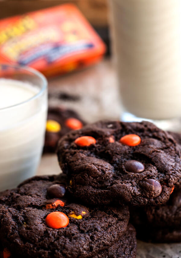 Chocolate Reeses Pieces Cookies