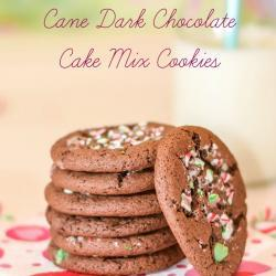 Peppermint Candy Cane Dark Chocolate Cake Mix Cookies