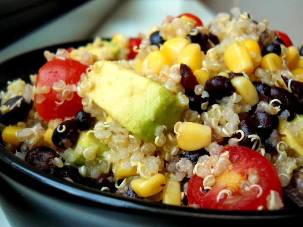 Black Bean and Tomato Quinoa with Avocado