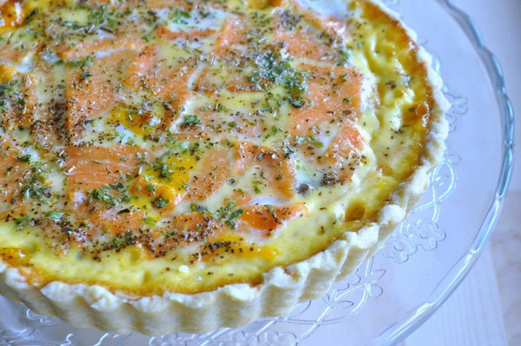 Smoked Salmon Mushroom Quiche recipe