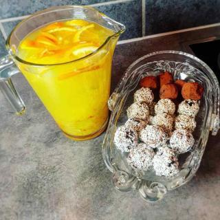Raw Energy Balls And Fruit Juice For Energy