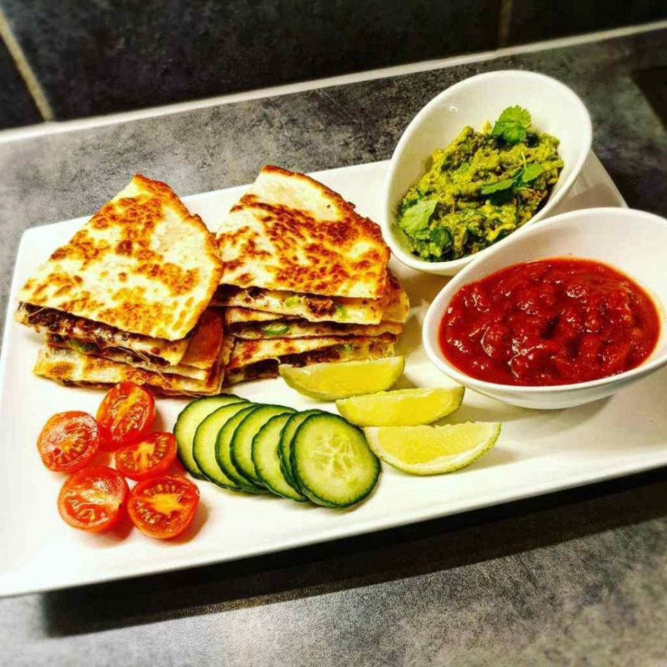 Delicious homemade quesadillas in 15 minutes with homemade guacamole & chunky salsa