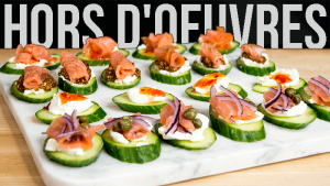 Hors d'oeuvres with smoked salmon, dill cheese and cucumber