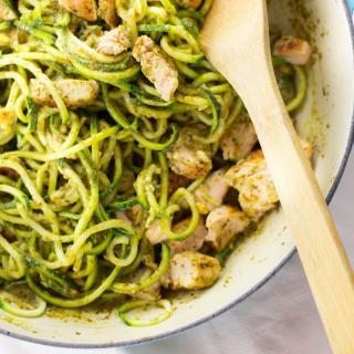 Keto Spaghetti With Chicken And Pesto