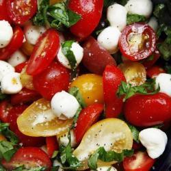 Keto salad with tomatoes and mozzarella