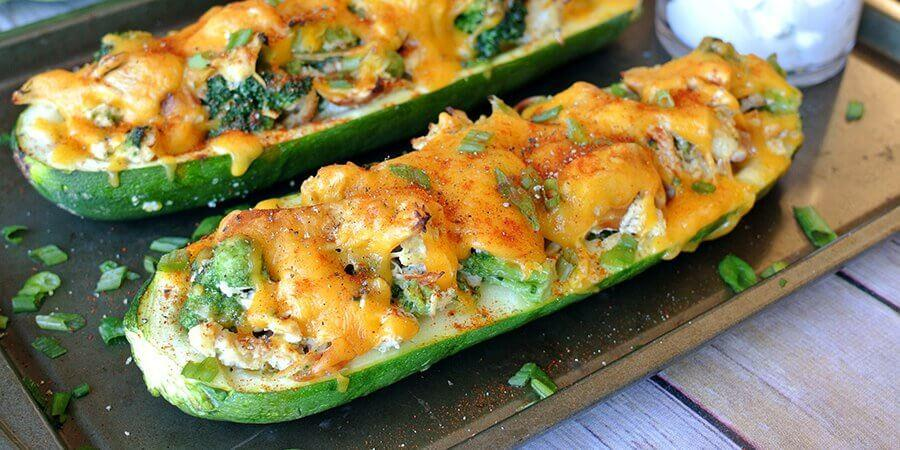 Zucchini Stuffed With Chicken And Broccoli