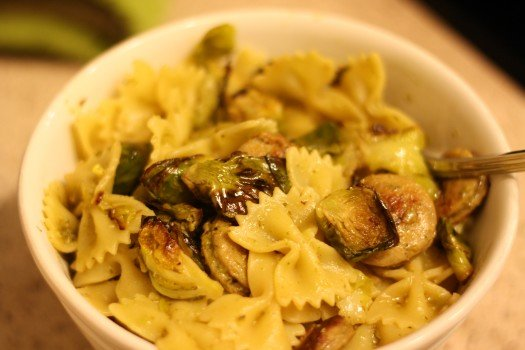Brussels Sprout and Chicken Sausage Pasta