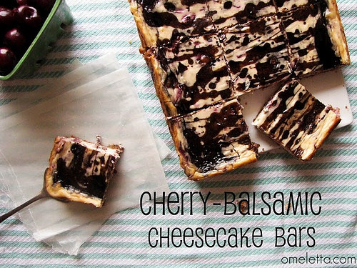 Cherry Balsamic Cheesecake Bars Recipe