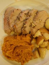 Roast Pork with Mashed Sweet Potatoes and Roasted Apples