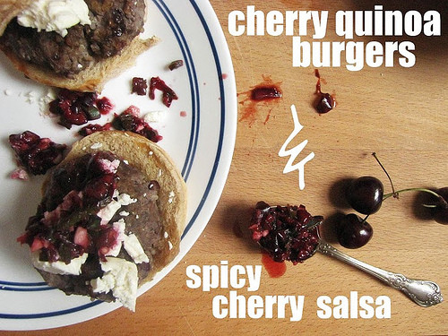 Cheery Quinoa Burgers With Spicy Cherry Salsa Recipe