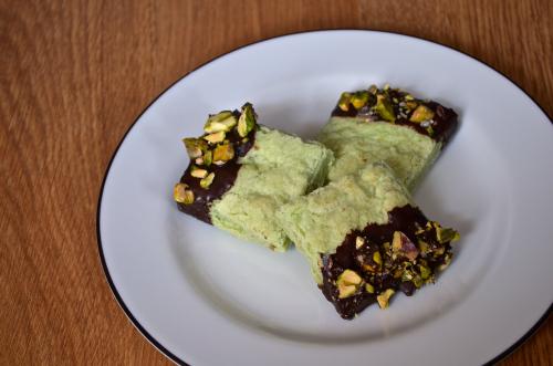 Chocolate Dipped Pistachio Shortbread Recipe 1