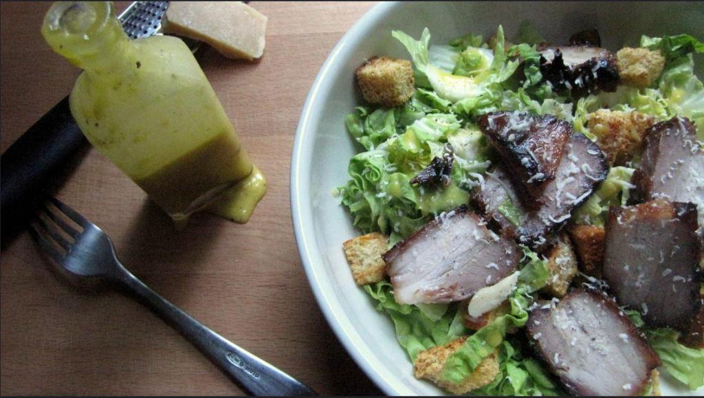 pork belly caesar salad