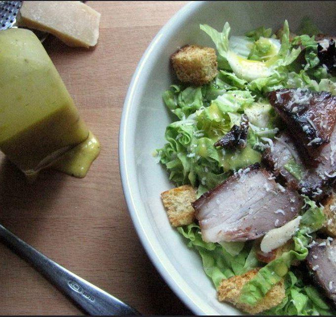 pork belly caesar salad