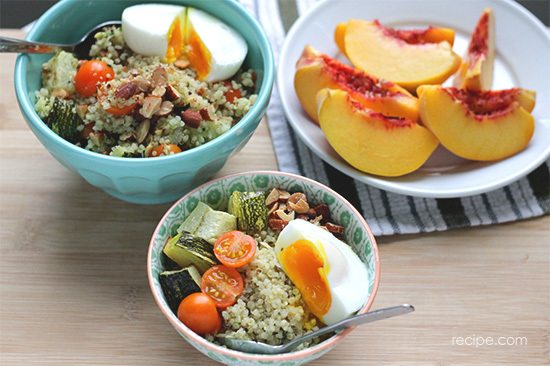 Pesto Quinoa Bowls With Poached Eggs Recipe