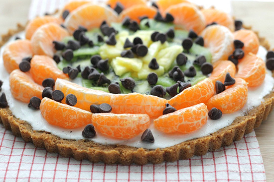 dark chocolate dessert pizza with fresh fruit