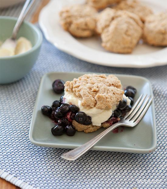 easy whole grain blueberry shortcakes
