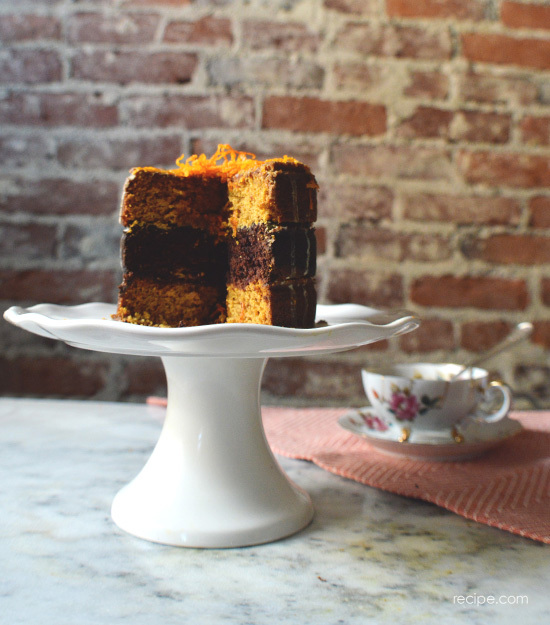 vegan dark chocolate and pumpkin layer cake